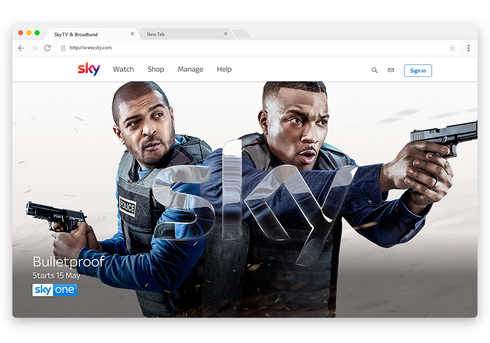 Sky.com Homepage: Main Menu & Autosuggest Search ONLY